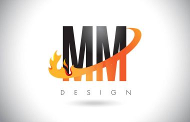 MM M M Letter Logo with Fire Flames Design and Orange Swoosh.