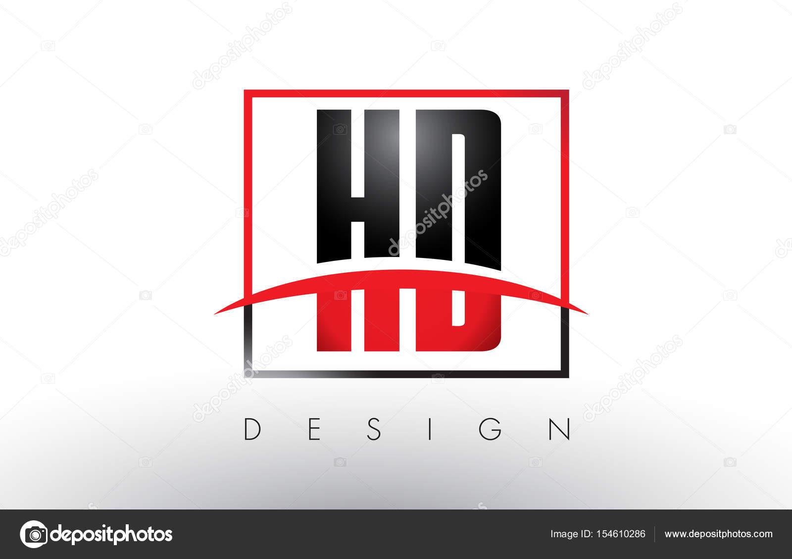 HD-H D Logo Buchstaben mit roten und schwarzen Farben und Swoosh ...