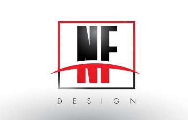 NF N F Logo Letters with Red and Black Colors and Swoosh.