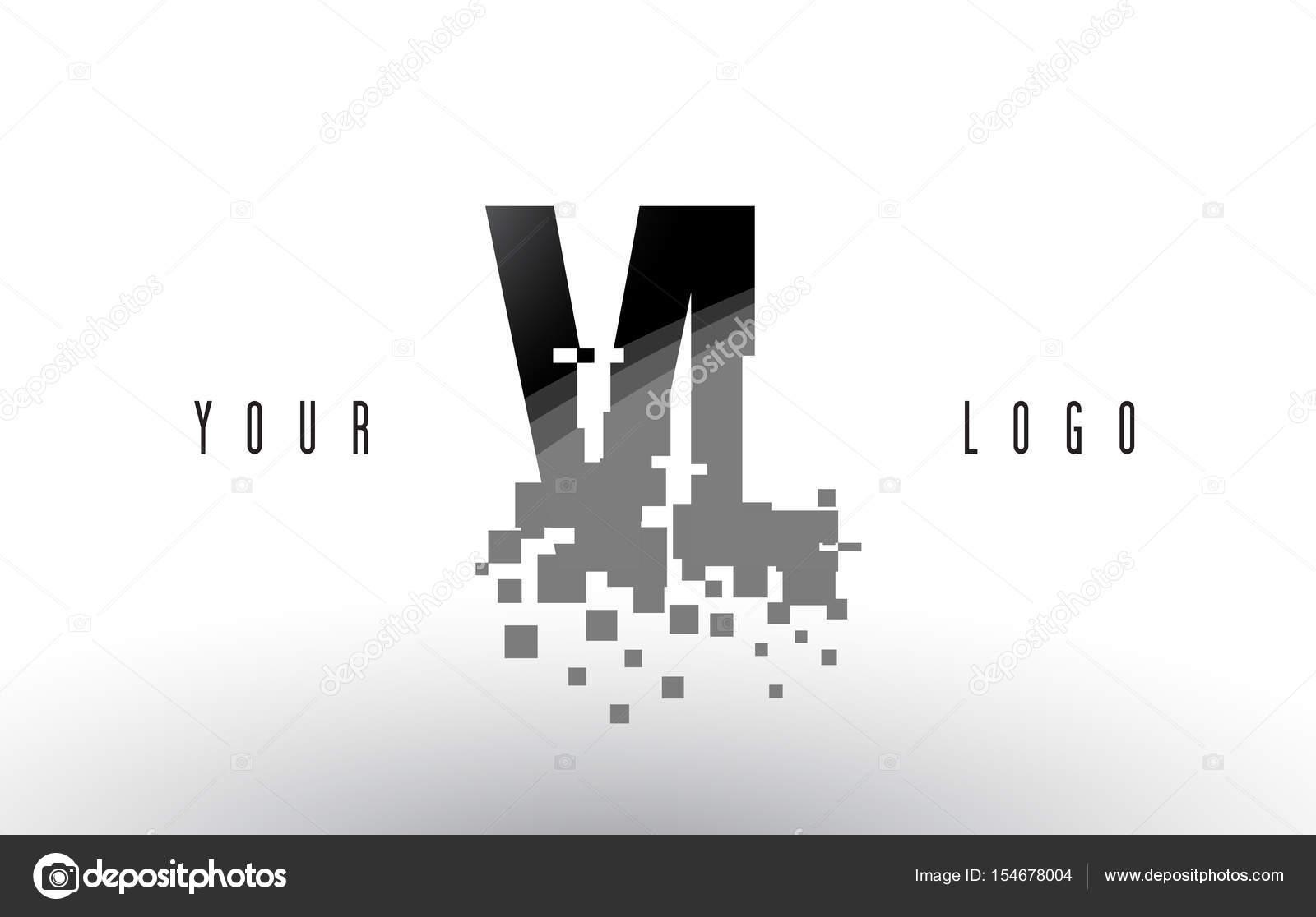 Vl V L Pixel Brief Logo Mit Digitalen Erschuttert Schwarze Quadrate