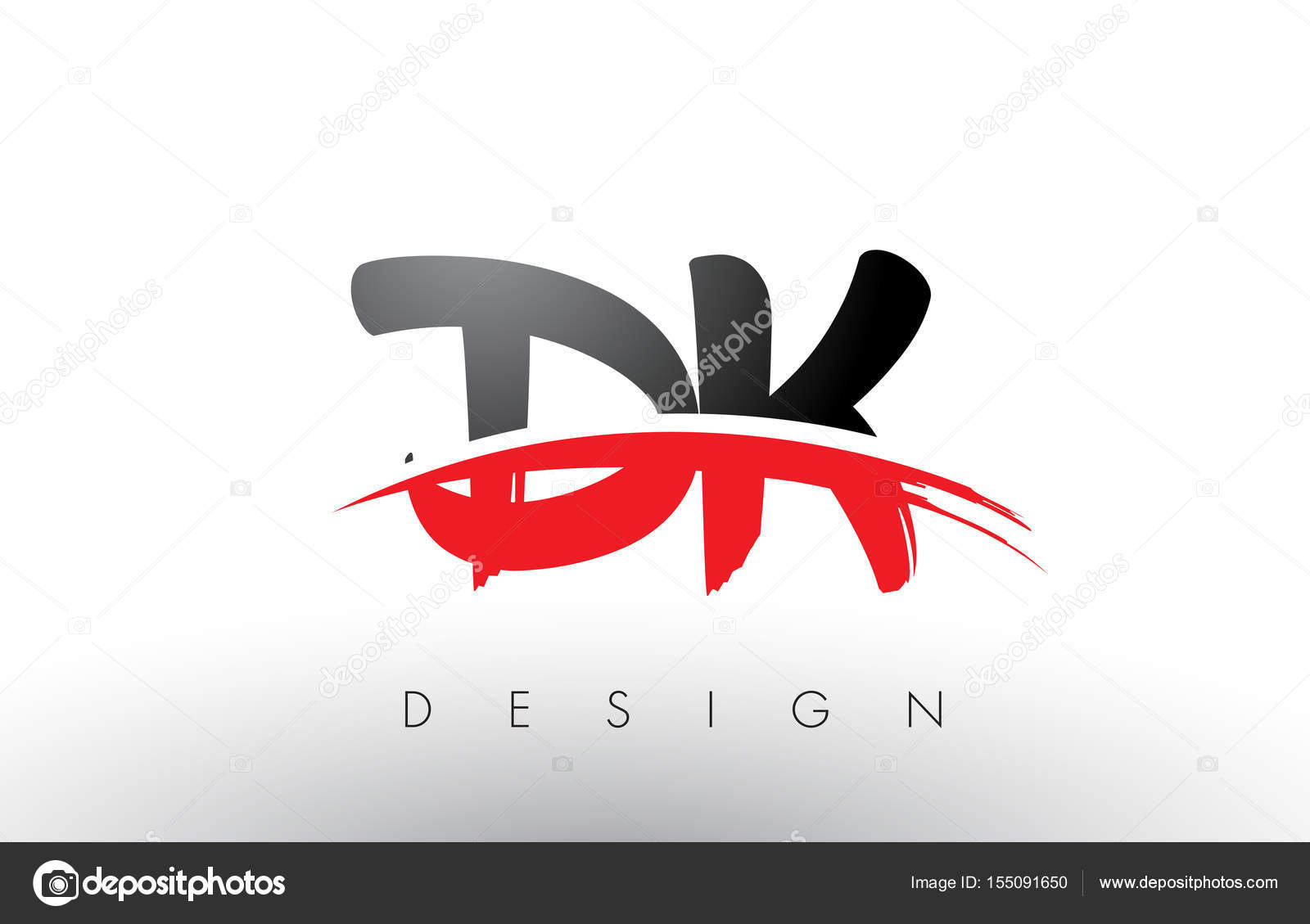 dk d k brush logo letters with red and black swoosh brush front