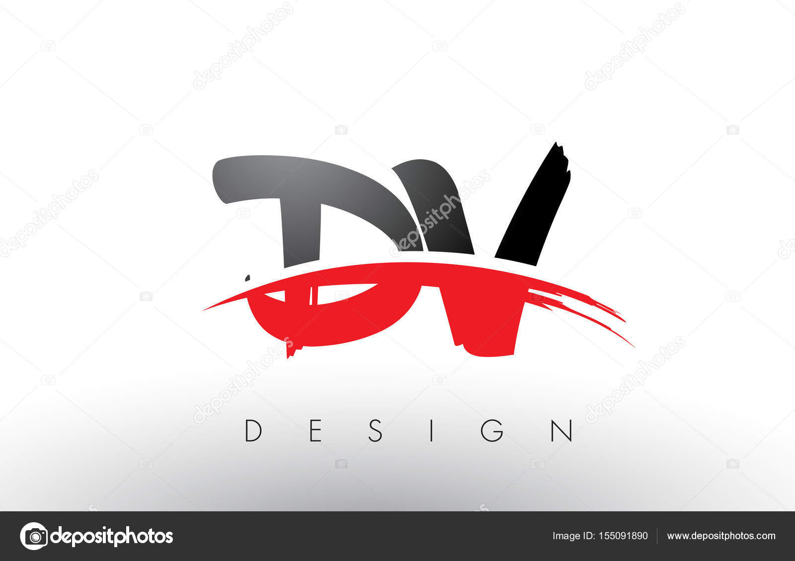 dv d v brush logo letters with red and black swoosh brush front