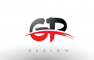 GP G P Brush Logo Letters with Red and Black Swoosh Brush Front