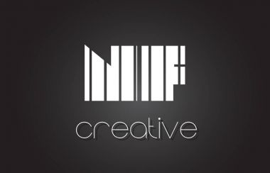 NF N F Letter Logo Design With White and Black Lines.