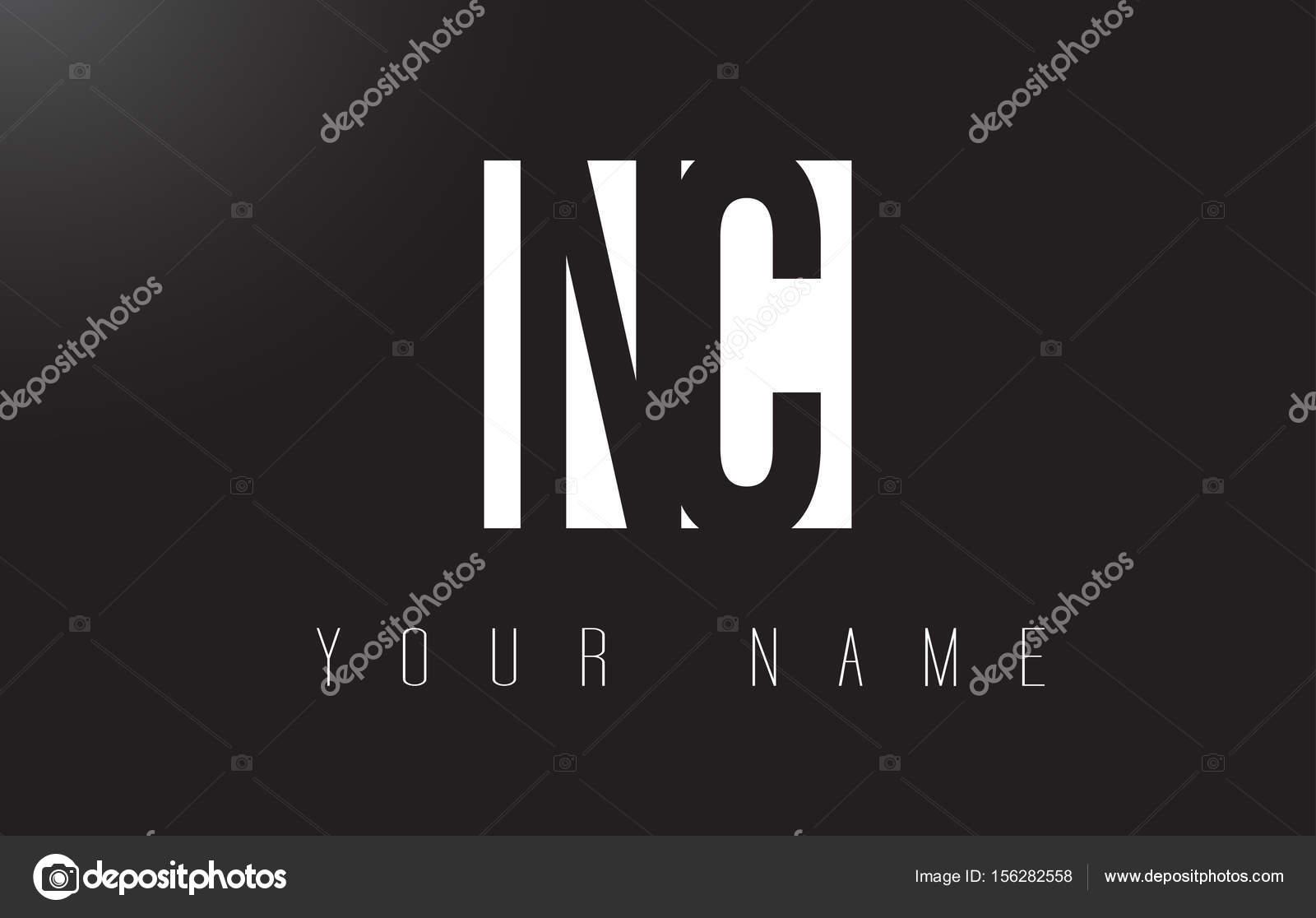 Logo De Lettre Nc Avec La Conception De Lespace Négatif Noir Et