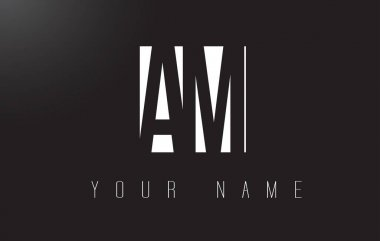 AM Letter Logo With Black and White Negative Space Design.