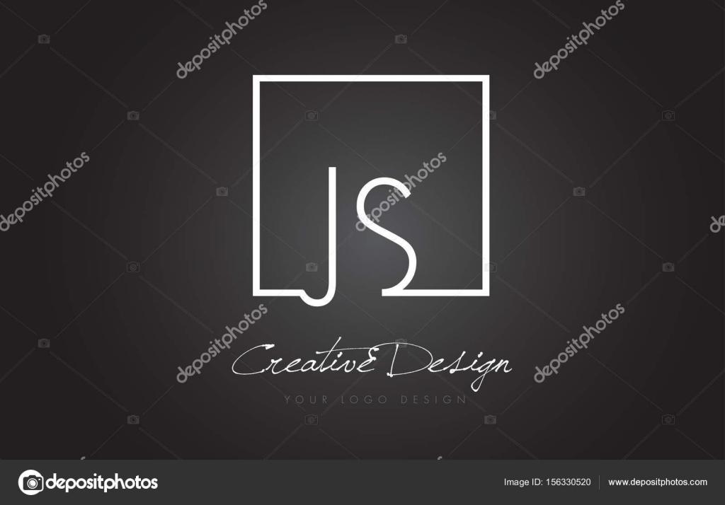 JS quadratischen Rahmen Brief Logo-Design mit schwarz und weiß ...