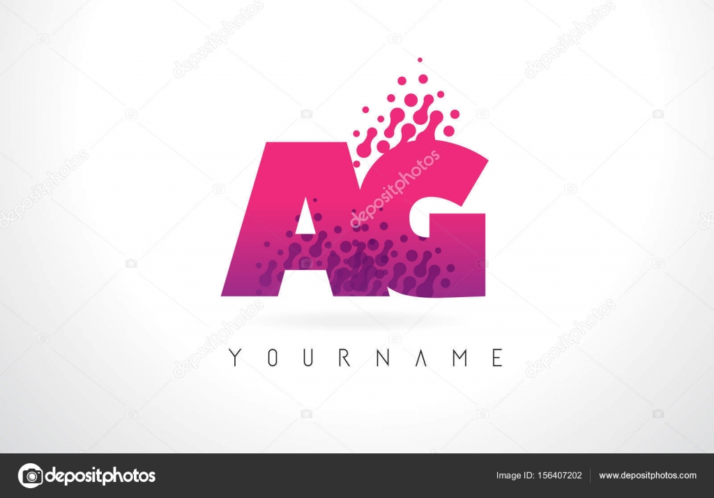 AG A G Letter Logo with Pink Purple Color and Particles Dots Des ...