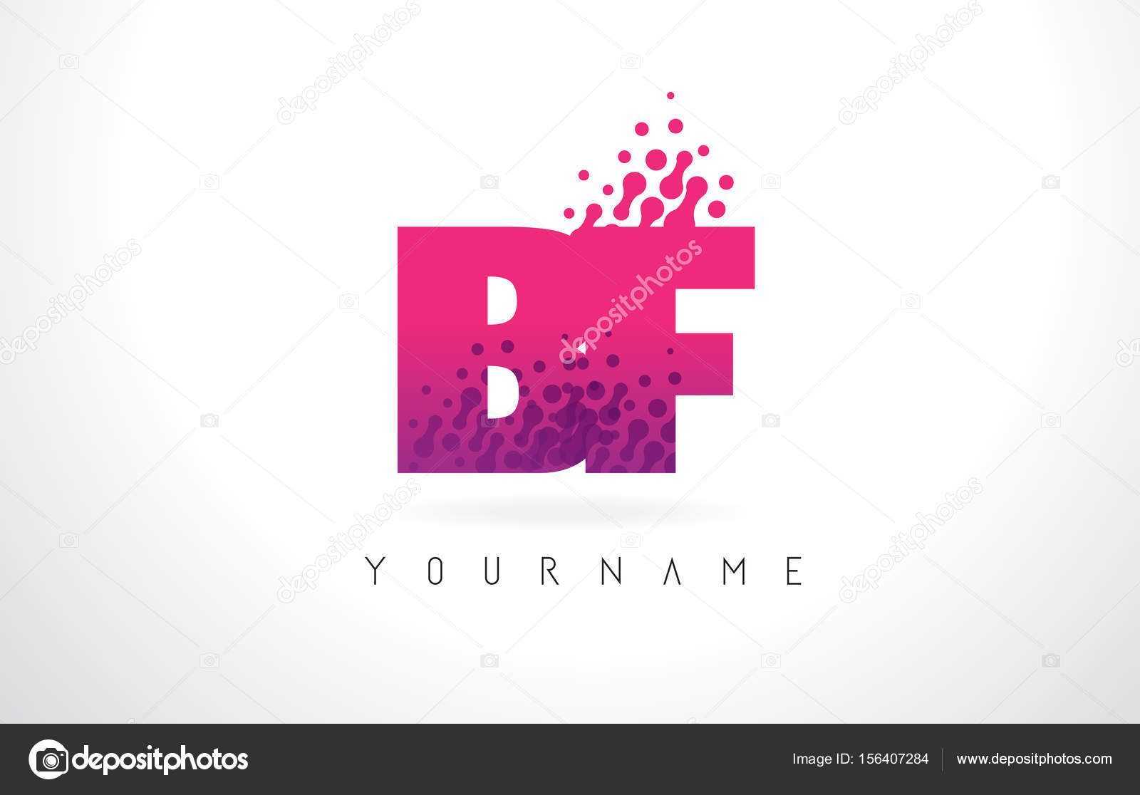 BF B F Letter Logo with Pink Purple Color and Particles Dots Des ...