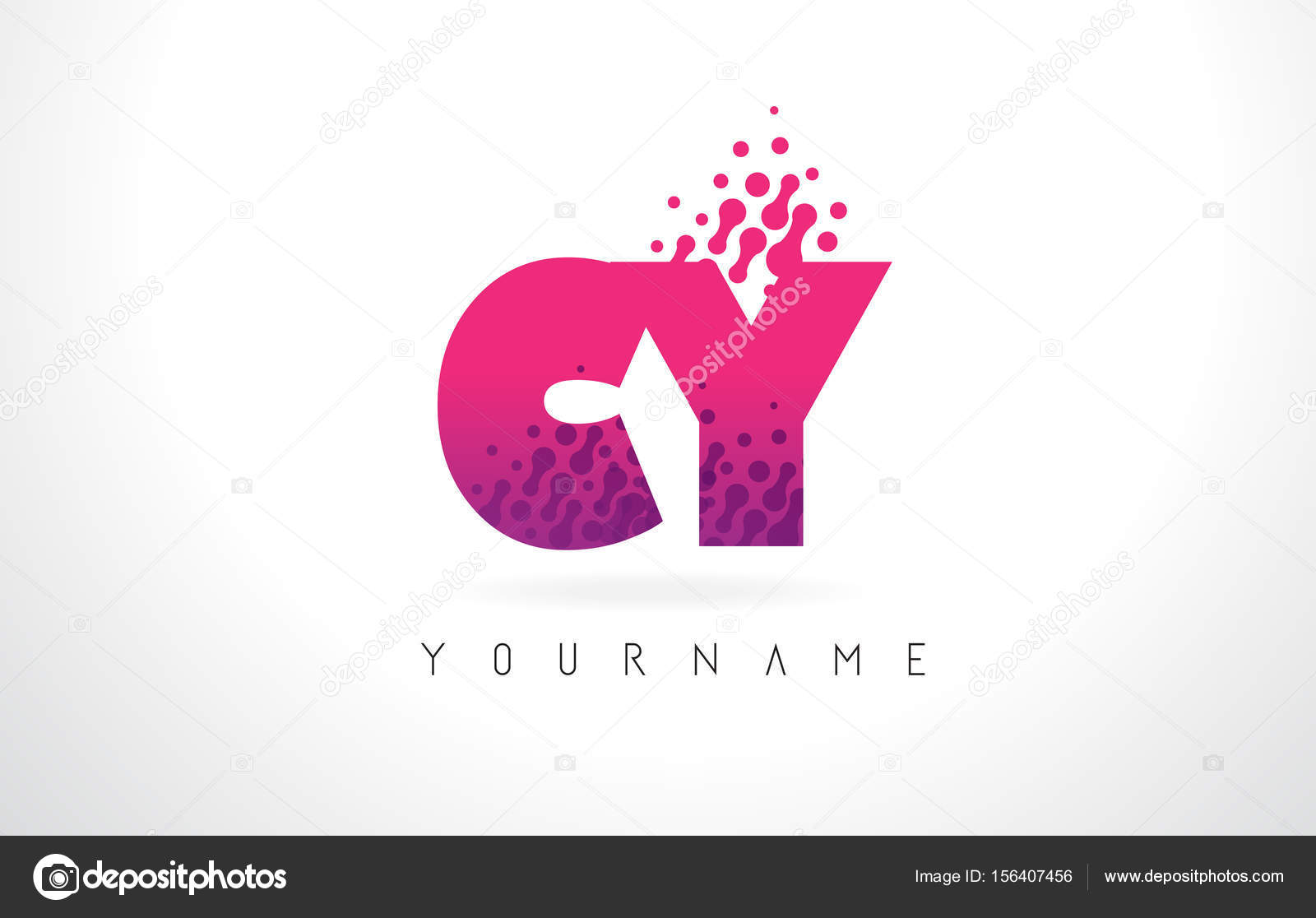 CY C Y Letter Logo with Pink Purple Color and Particles Dots Des ...