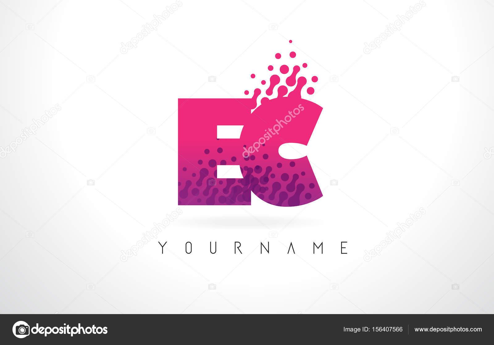 EC E C Letter Logo with Pink Purple Color and Particles Dots Des ...