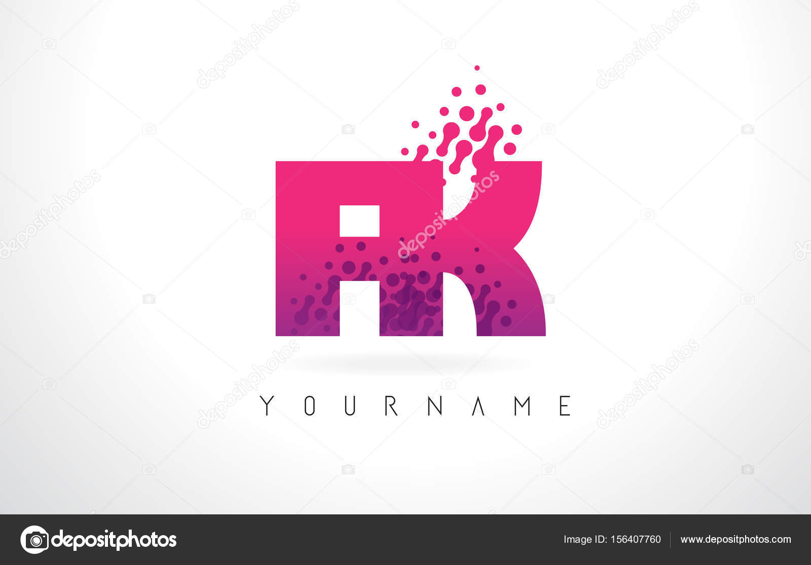 FK F K Letter Logo with Pink Purple Color and Particles Dots Des ...