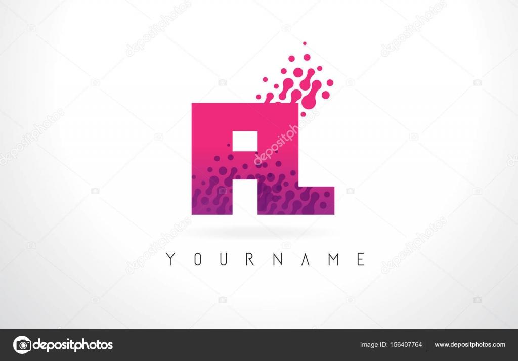 FL F L Letter Logo with Pink Purple Color and Particles Dots Des ...