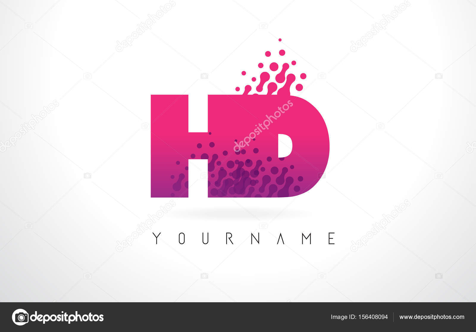 HD H D Letter Logo with Pink Purple Color and Particles Dots Des ...