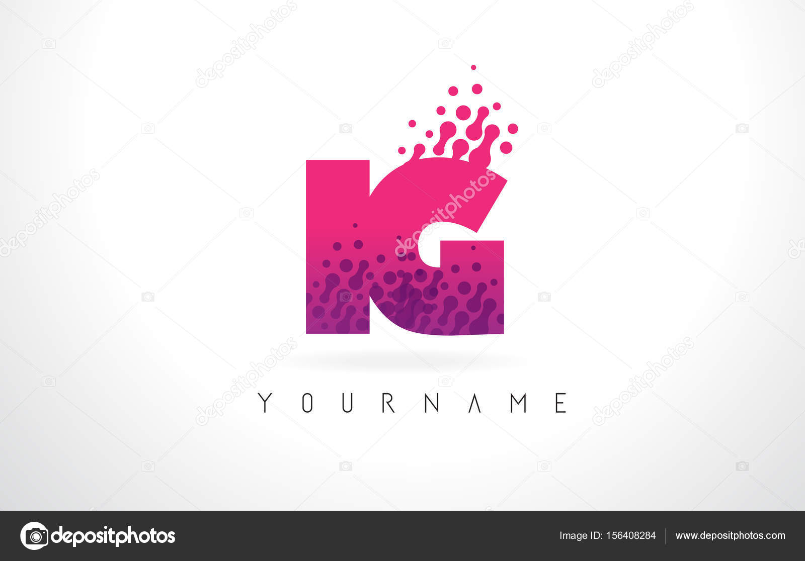 IG I Q Letter Logo with Pink Purple Color and Particles Dots Des ...