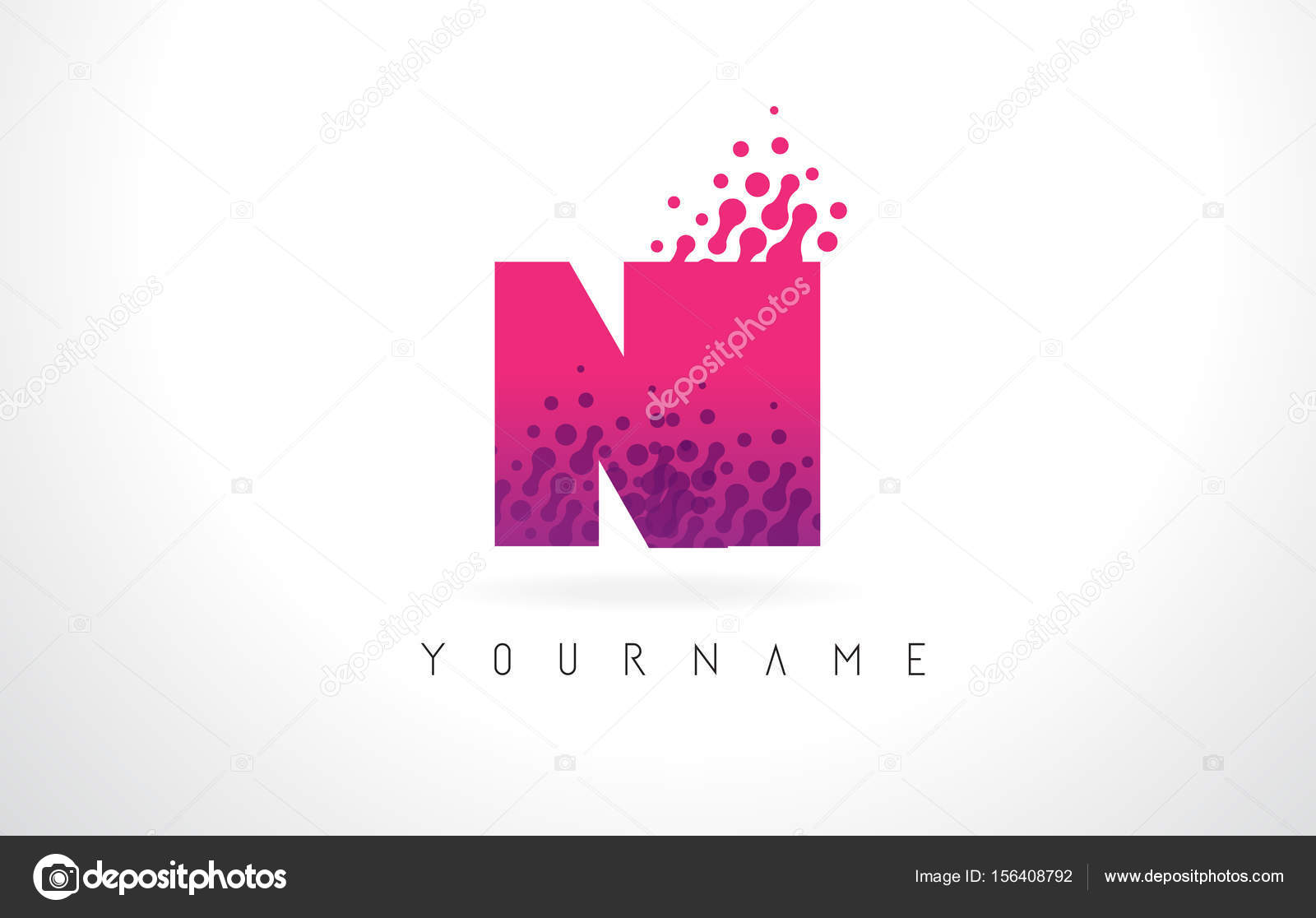 NI N I Letter Logo with Pink Purple Color and Particles Dots Des ...