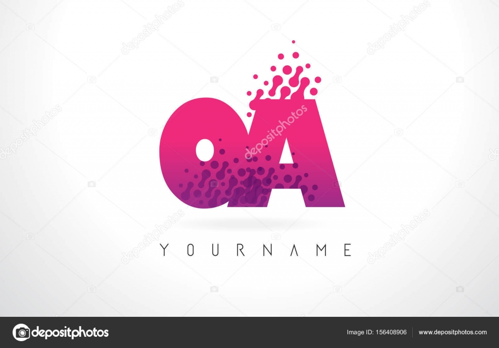 OA O A Letter Logo with Pink Purple Color and Particles Dots Des ...
