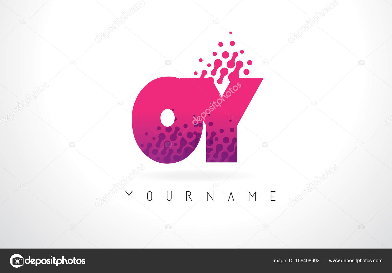OY O Y Letter Logo with Pink Purple Color and Particles Dots Des ...