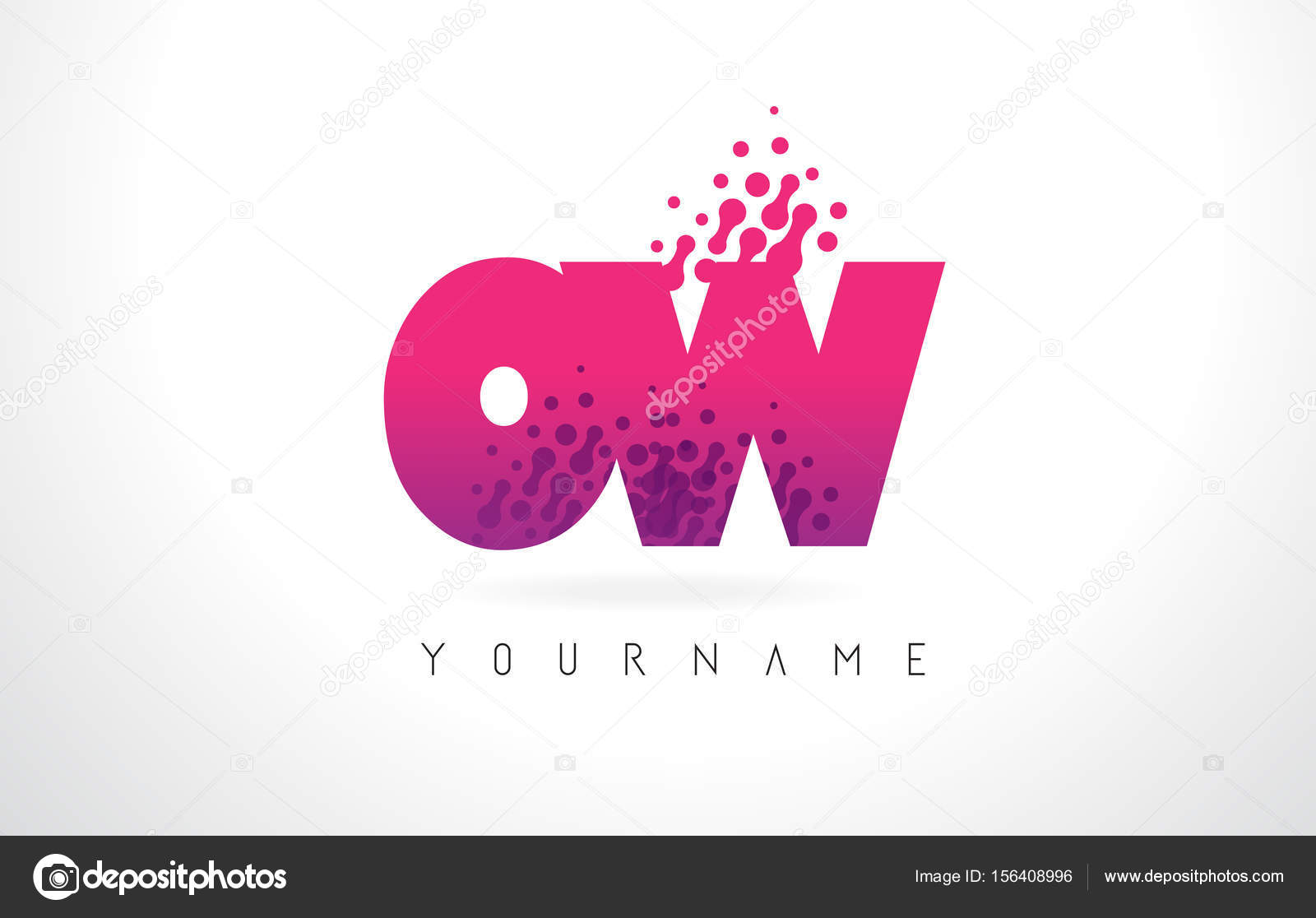 OW O W Letter Logo with Pink Purple Color and Particles Dots Des ...