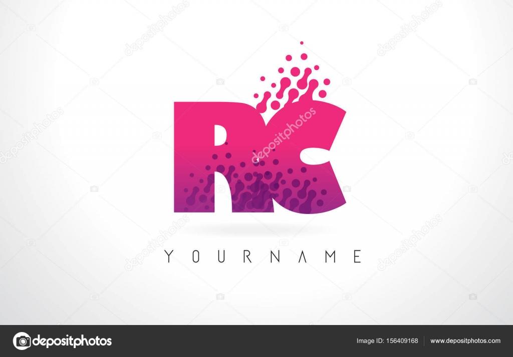 RC R C Letter Logo with Pink Purple Color and Particles Dots Des ...