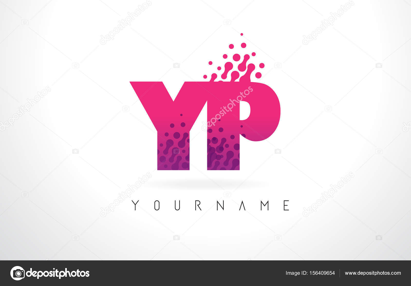 YP Y P Letter Logo with Pink Purple Color and Particles Dots Des ...