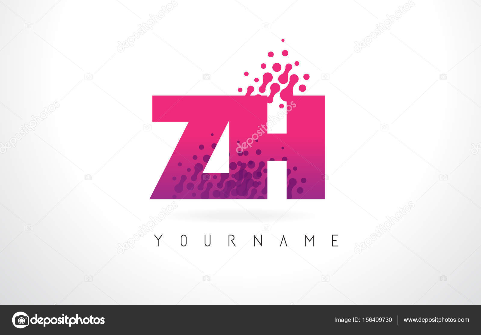 ZH Z H Letter Logo with Pink Purple Color and Particles Dots Des ...