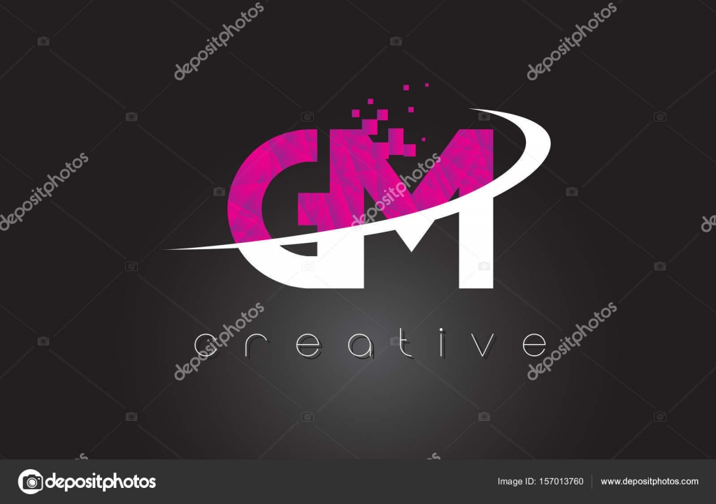 Gm G M Creative Letters Design With White Pink Colors Stock Vector