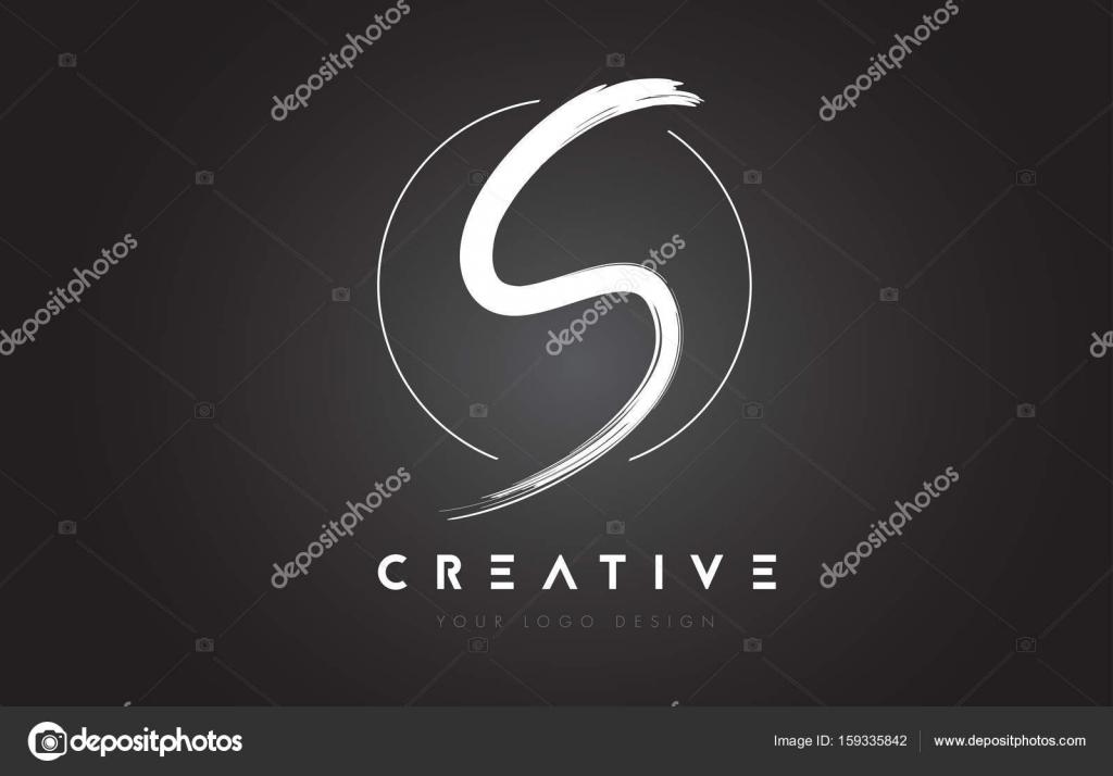 S Brush Letter Logo Design Artistic Handwritten Letters Co Stock Vector