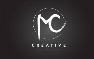MC Brush Letter Logo Design. Artistic Handwritten Letters Logo C