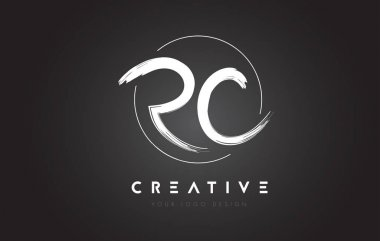 RC Brush Letter Logo Design. Artistic Handwritten Letters Logo C
