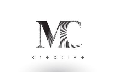 MC Logo Design With Multiple Lines and Black and White Colors.