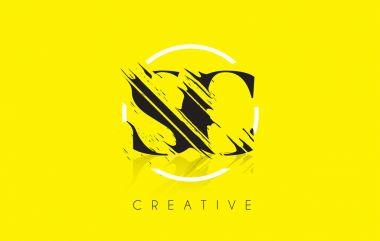 SC Letter Logo with Vintage Grundge Drawing Design. Destroyed Cu