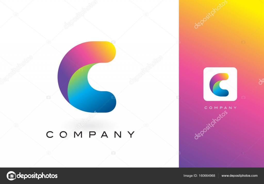 c logo brief met levendige mooie kleuren van de regenboog
