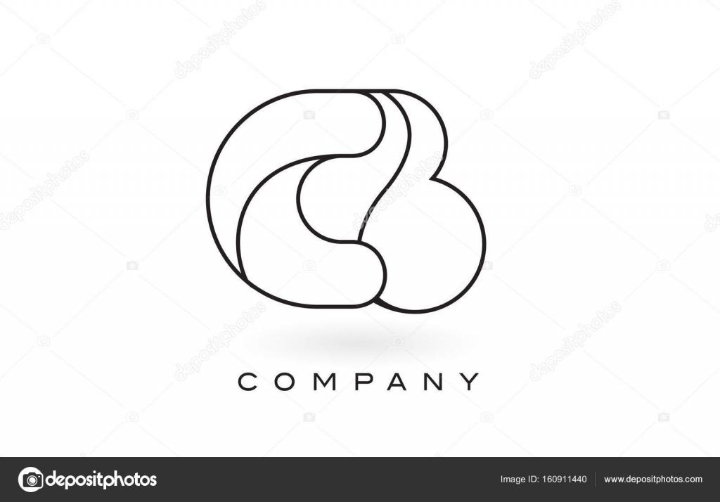 CB-Monogramm Brief Logo mit dünnen schwarzen Monogramm Umriss ...