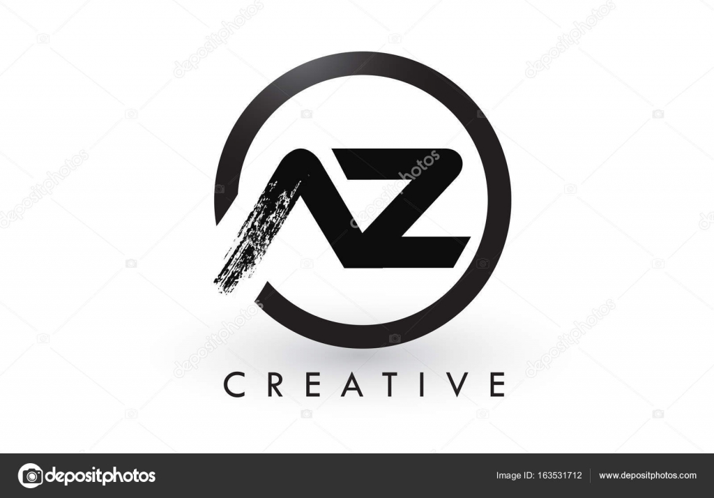 AZ Brush Letter Logo Design With Black Circle Creative Brushed Letters Icon Vector By Twindesigner