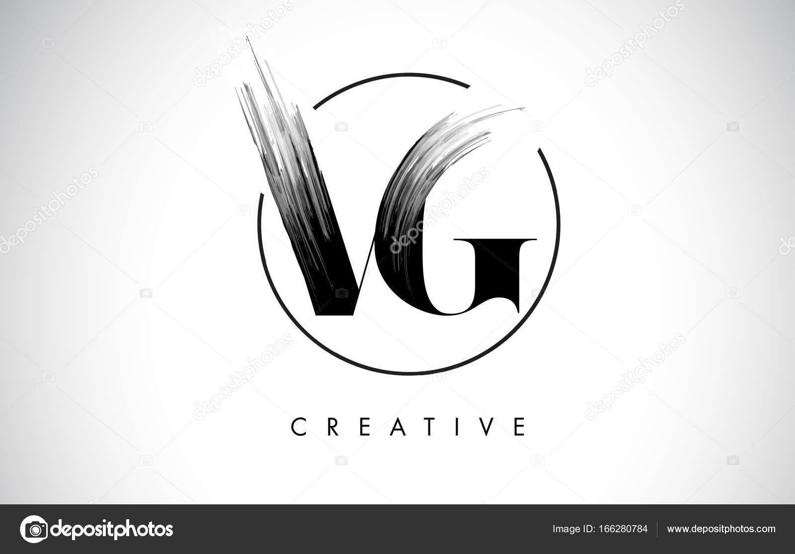 VG Pinsel Strich-Brief-Logo-Design. Schwarzer Farbe Logo Leters ...