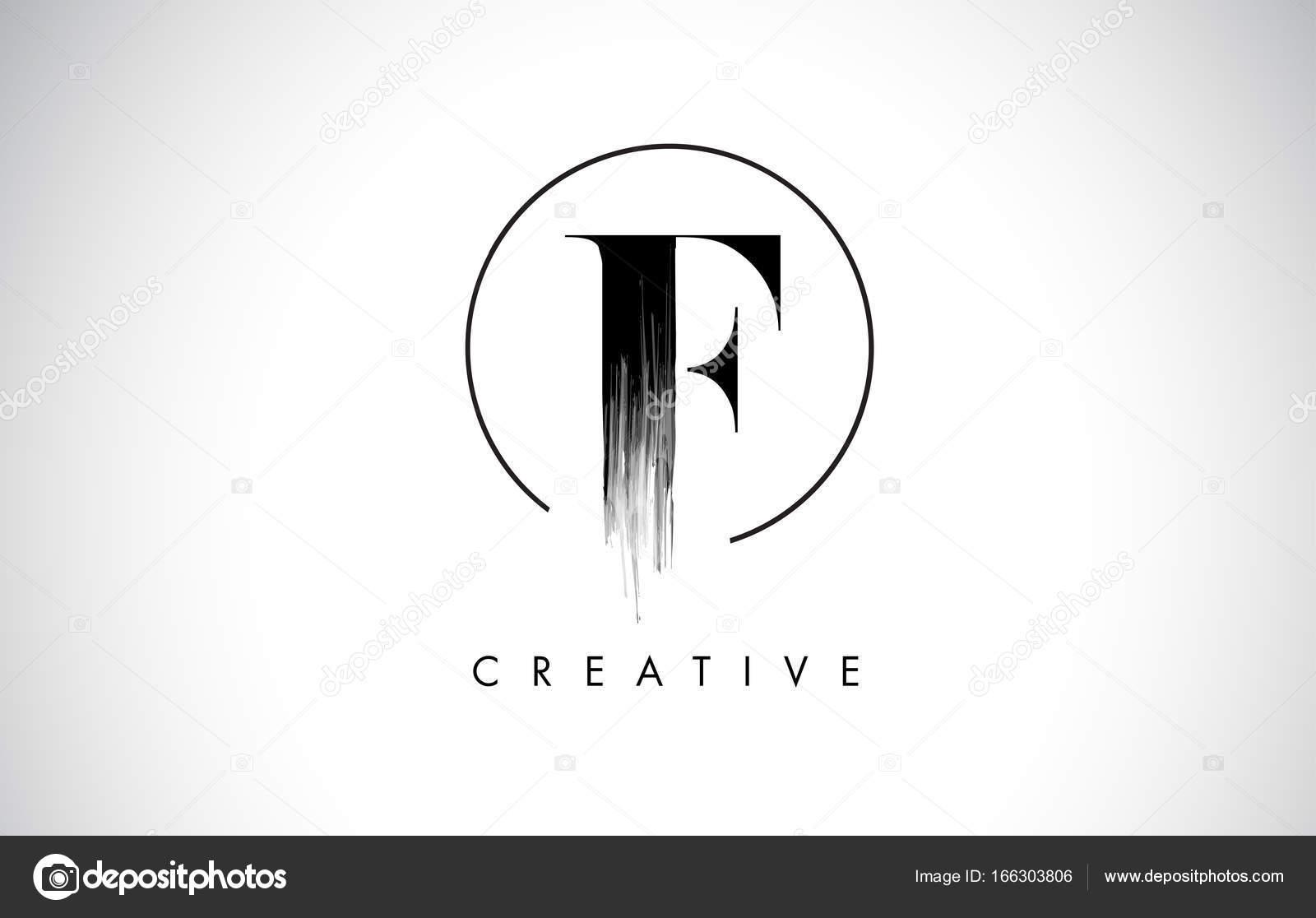 F Pinsel Strich Brief Logo-Design. Schwarzer Farbe Logo Leters ...
