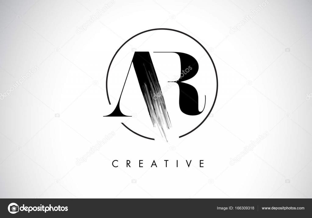 Ar Fırça Konturu Mektup Logo Tasarımı Siyah Boya Logo Tür Simgesi