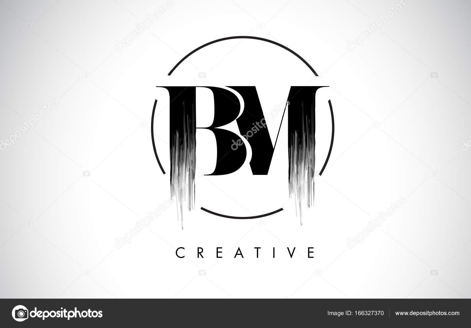 bm brush stroke letter logo design black paint logo leters icon