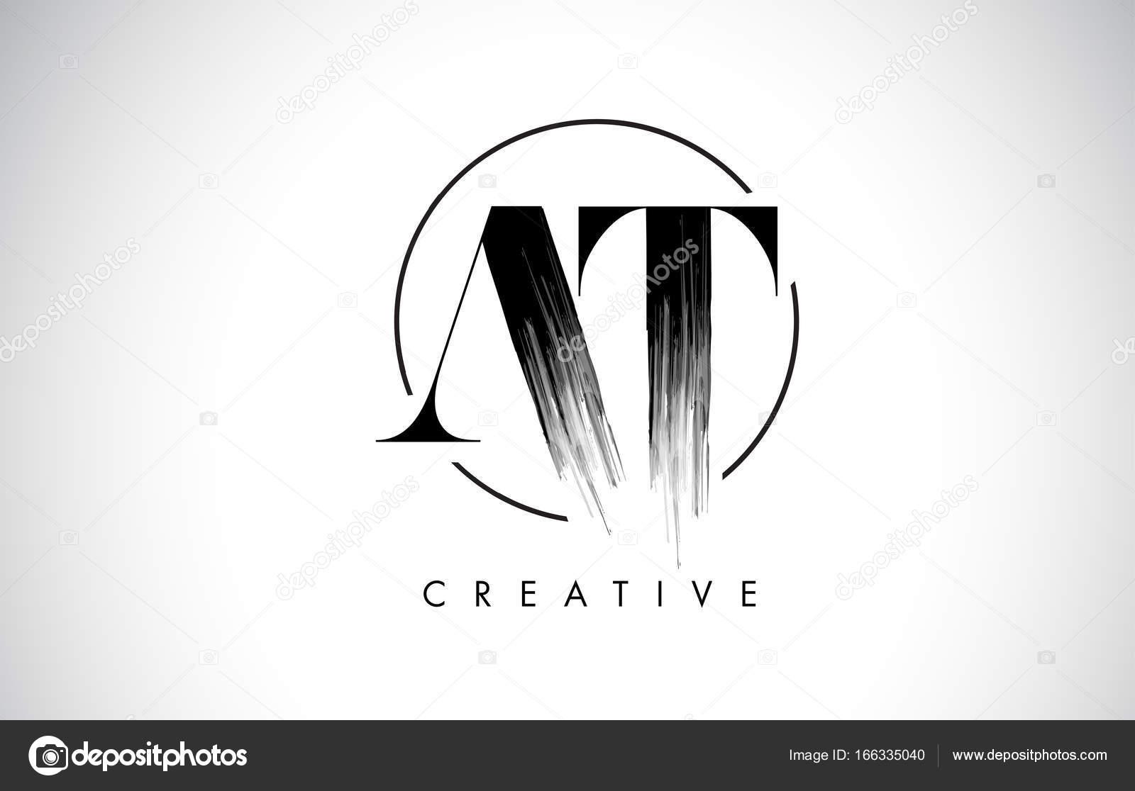 Am Pinsel Strich-Brief-Logo-Design. Schwarzer Farbe Logo Leters ...