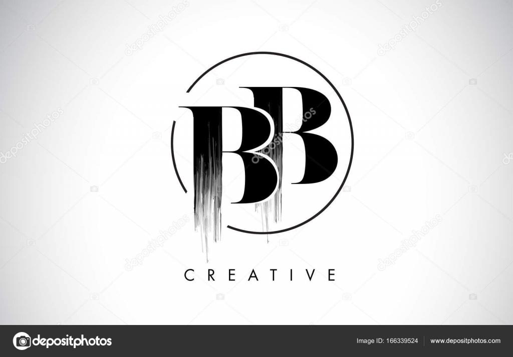 BB Brush Stroke Letter Logo Design. Black Paint Logo