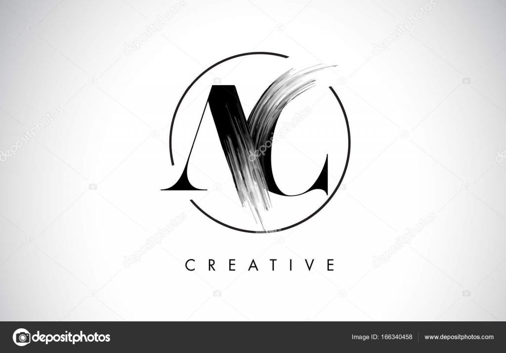 AC Brush Stroke Brief-Logo-Design. Schwarzer Farbe Logo Leters ...