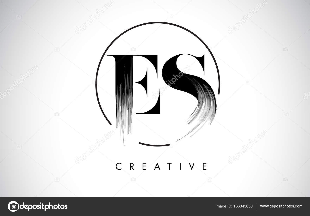 Es Pinsel Strich-Brief-Logo-Design. Schwarzer Farbe Logo Leters ...