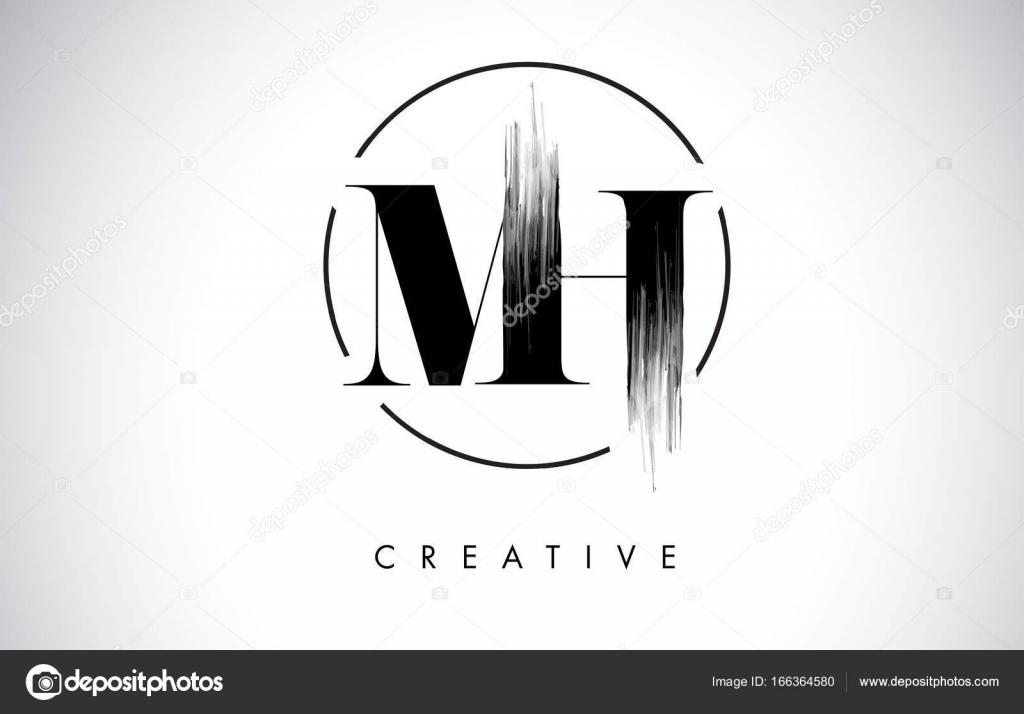 Mh Brush Stroke Letter Logo Design Black Paint Logo Leters Icon Stock Vector
