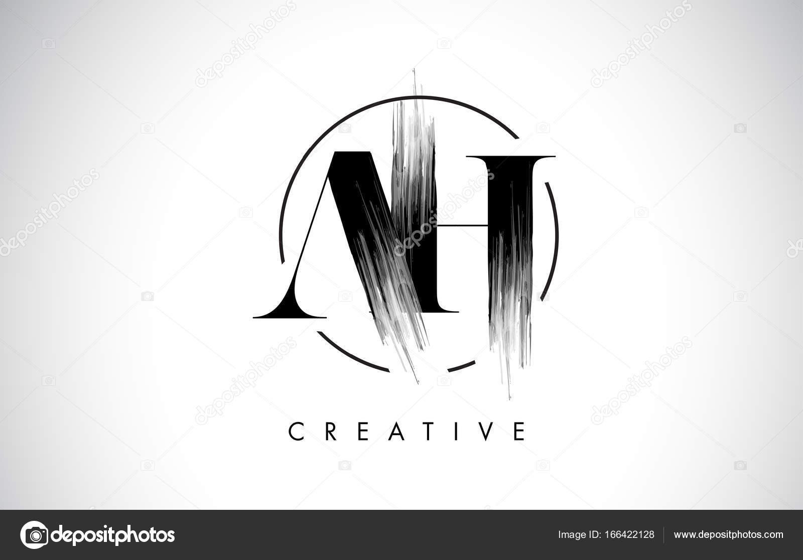 Ach Pinsel Strich-Brief-Logo-Design. Schwarzer Farbe Logo Leters ...