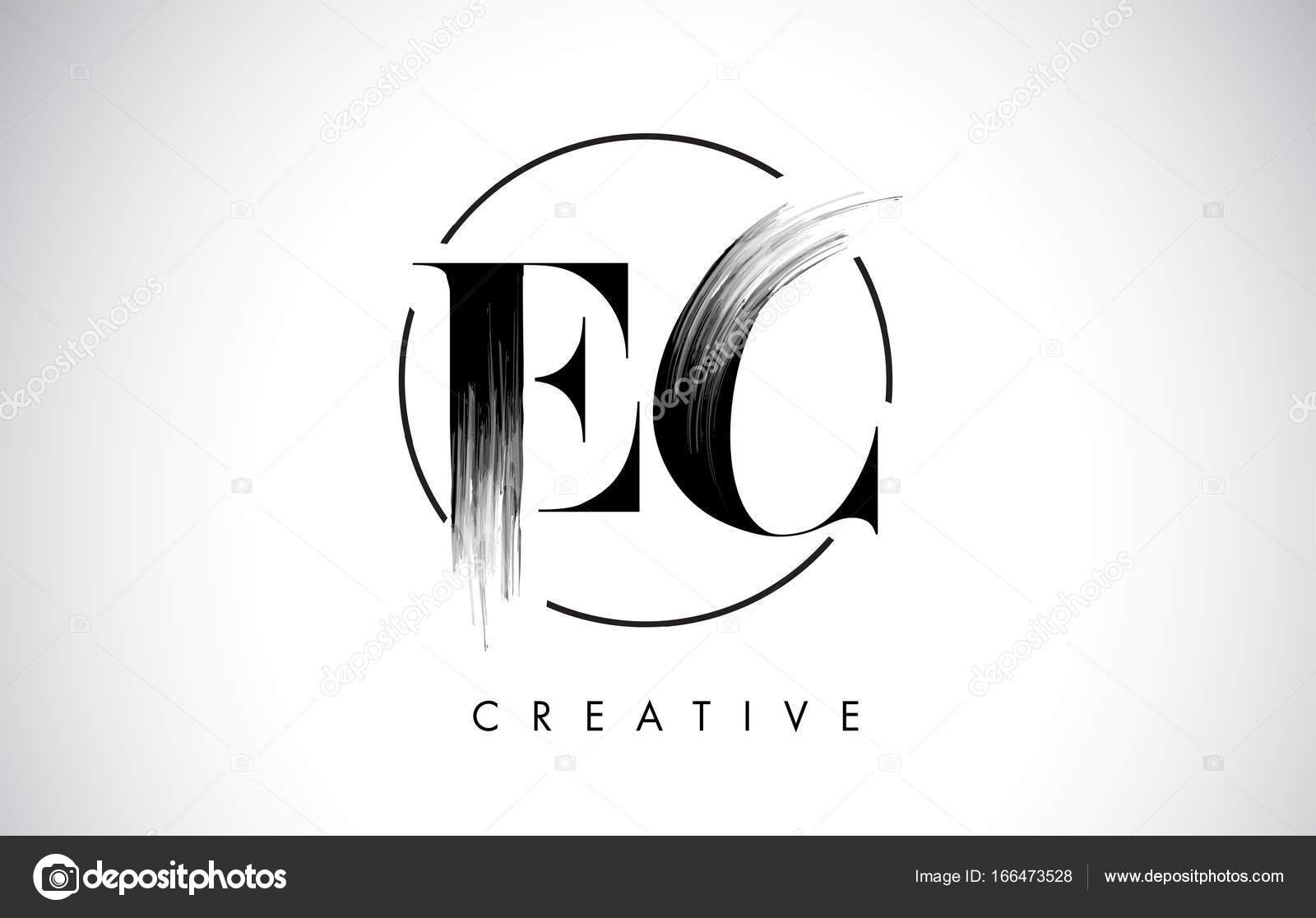 EC-Pinsel Strich Brief-Logo-Design. Schwarzer Farbe Logo Leters ...