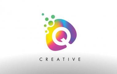 Q Colorful Logo Design Shape. Purple Abstract Shape Letter Icon.