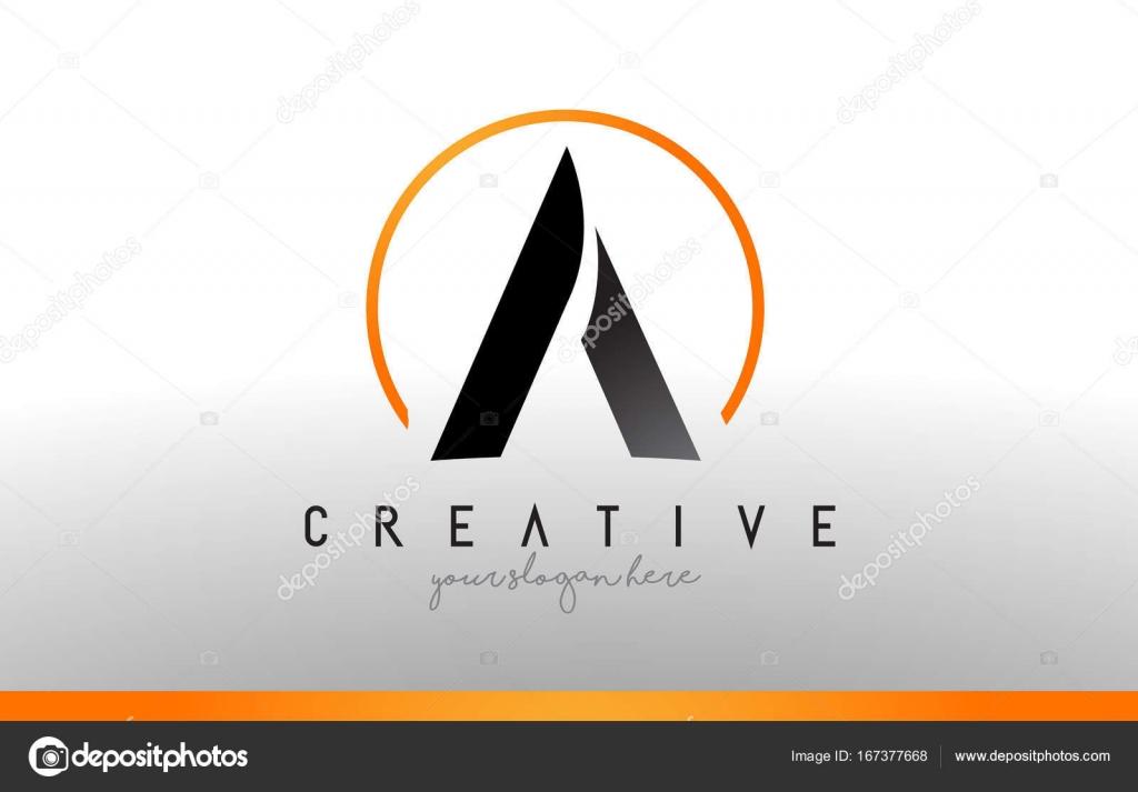Un Lettera Logo Design Con Colore Arancione Nero Icona Moderna Cool