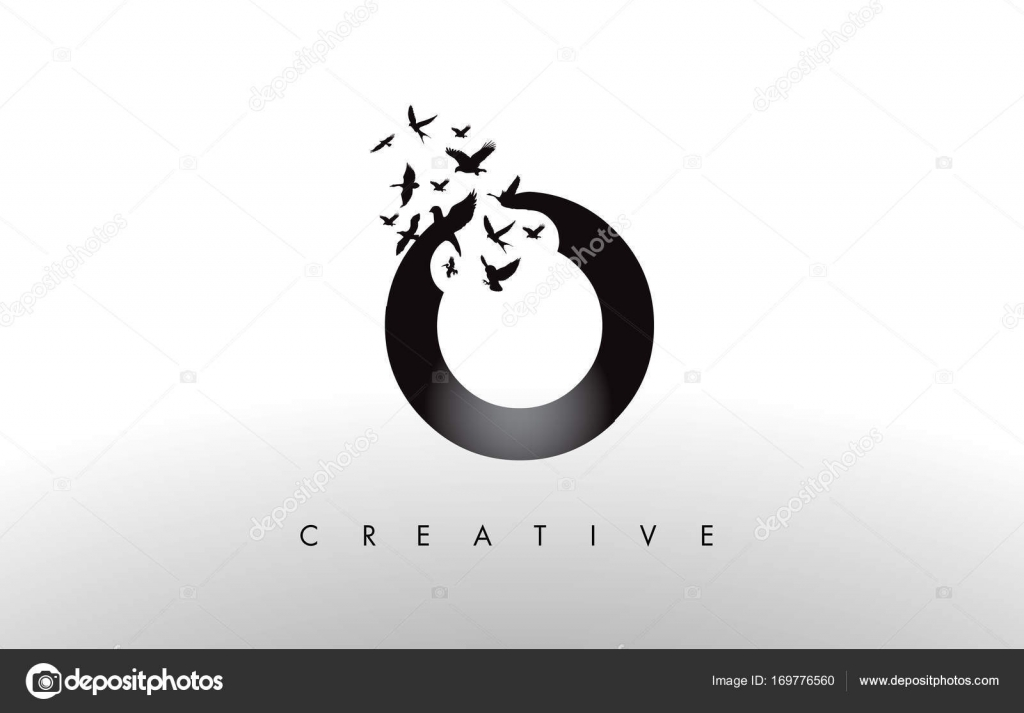 O Logo Letter With Flock Of Birds Flying And Disintegrating From