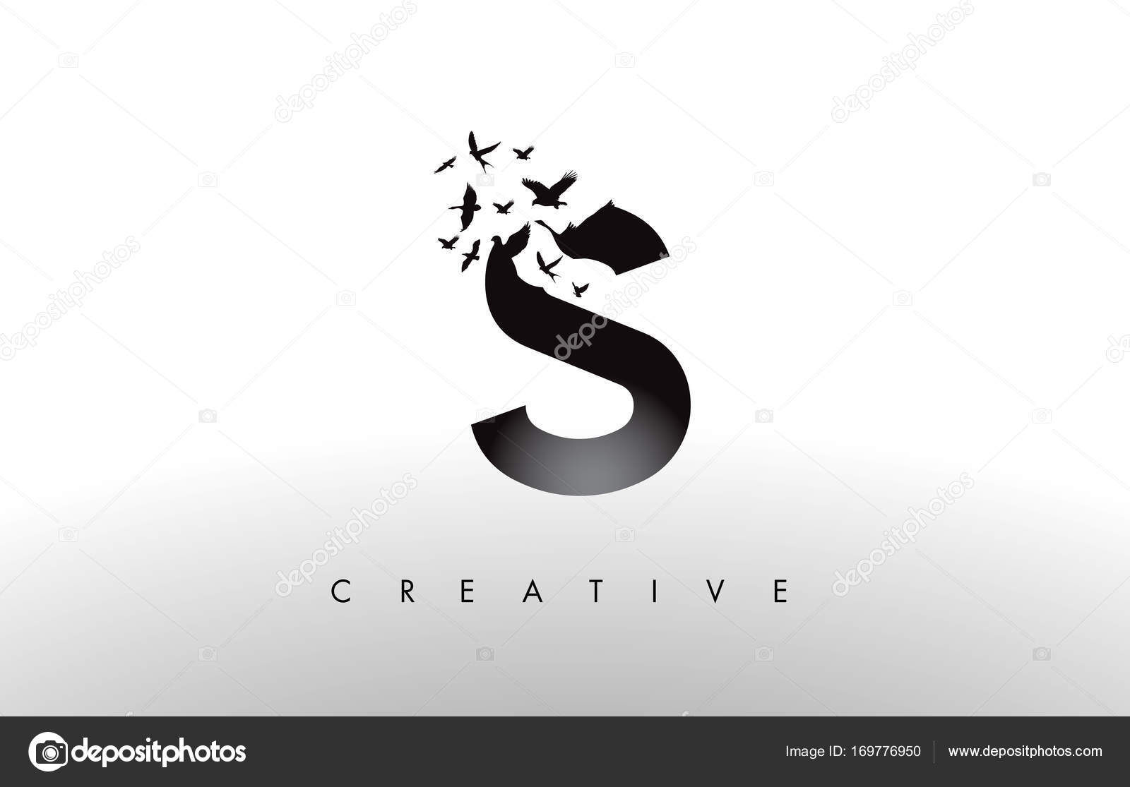 S logo letter with flock of birds flying and disintegrating from s logo letter with flock of birds flying and disintegrating from stock vector thecheapjerseys Images